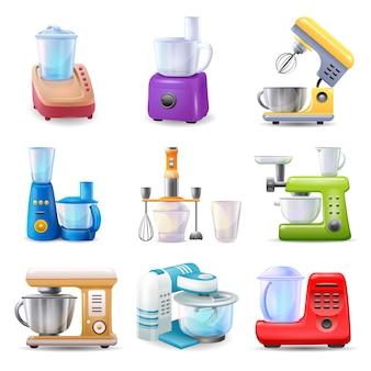 Le icone del robot da cucina hanno impostato il vettore del fumetto. attrezzatura da cucina. frullatore per la lavorazione degli alimenti