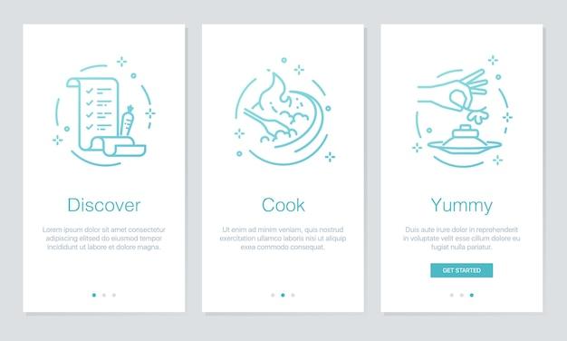 Schermate delle app di bordo per cibo e ricette.
