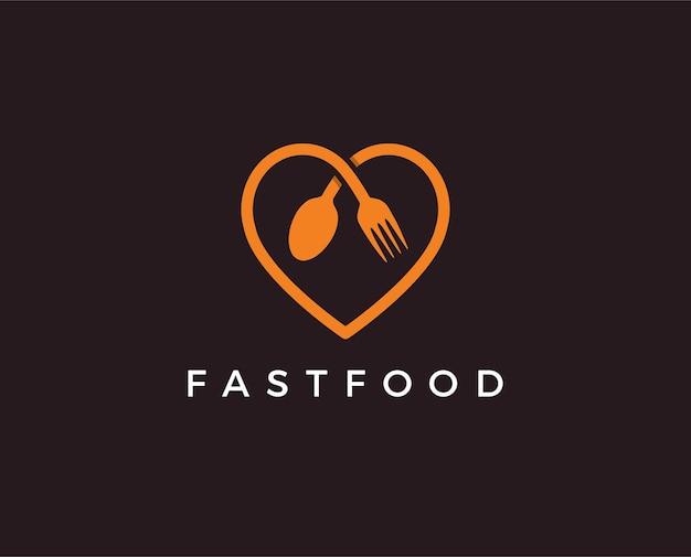 Modello di logo di ristorante o bar di cibo