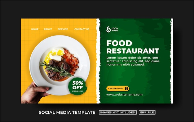 Modello di pagina di destinazione del ristorante di cibo