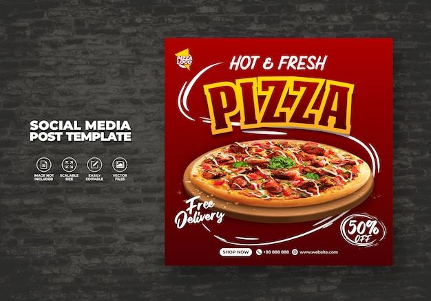 Menu del ristorante del cibo e deliziosa pizza per il modello vettoriale dei social media