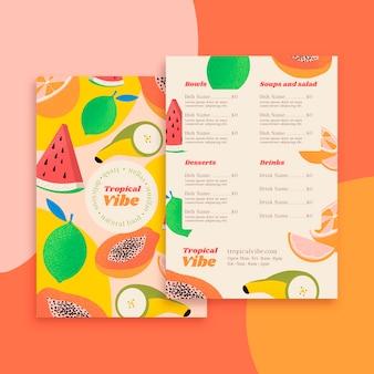 Modello di menu del ristorante di cibo
