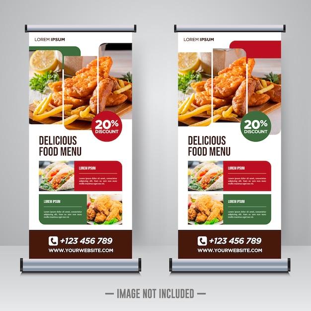 Modello di progettazione banner roll up cibo e ristorante