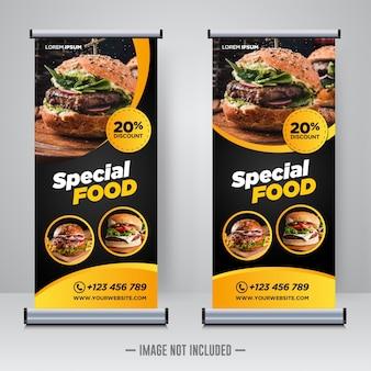 Cibo e ristorante roll up banner modello di progettazione
