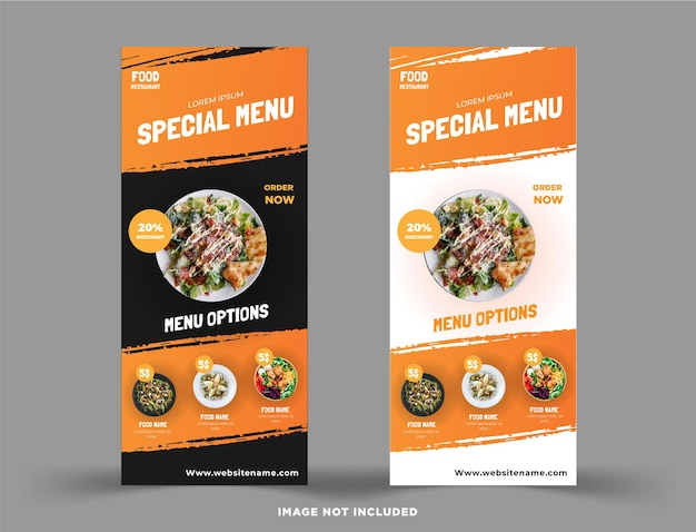 Modello di vettore di banner rollup ristorante di cibo vettore premium
