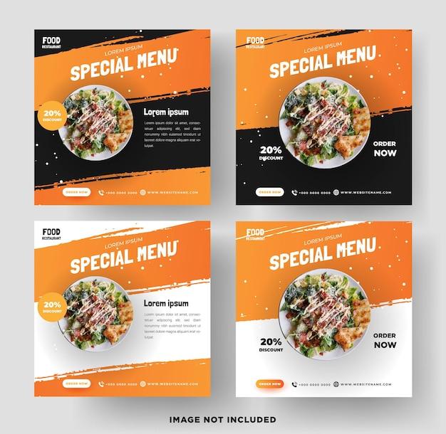 Modello di vettore di banner di social media del ristorante di cibo vettore premium