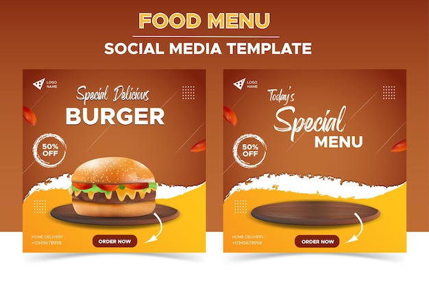 Ristorante di cibo per il modello di social media promozionale di menu di hamburger freschi e deliziosi