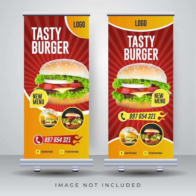 Alimento roll up banner design template Vettore Premium