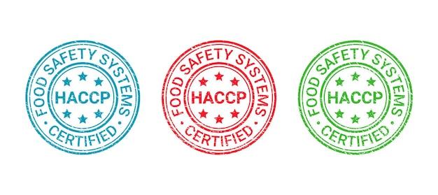 Timbro del sistema di sicurezza alimentare. distintivo grunge certificato haccp. illustrazione vettoriale.