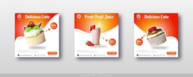 Post di instagram di vendita di cibo e modello di banner di social media