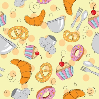 Sfondo disegnato a mano senza giunte di cibo - illustrazione vettoriale