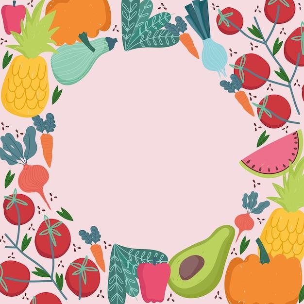 Illustrazione di frutta e verdura fresca di confine rotondo senza cuciture di cibo