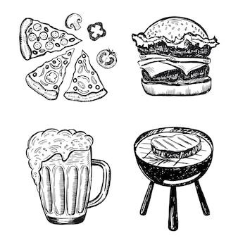 Illustrazioni disegnate a mano di set di cibo