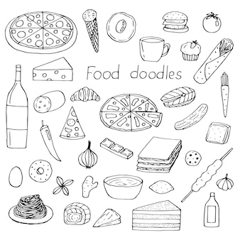 Set di cibo, illustrazione vettoriale di scarabocchi di disegno a mano