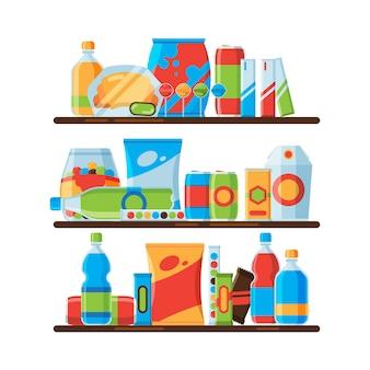 Scaffali per alimenti. fai uno spuntino con bevande gassate fredde e croccanti in bottiglie di plastica, cracker, cibo spazzatura, promozione di illustrazioni