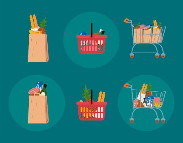 Collezione di icone di cibo e shopping