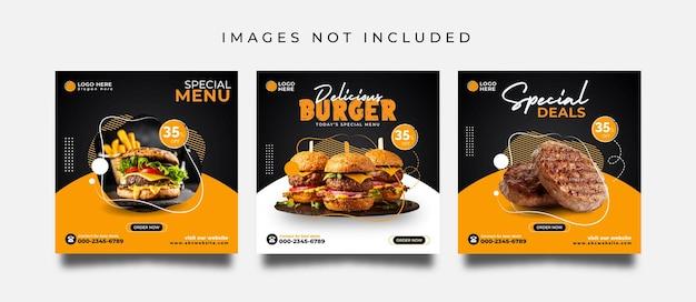 Post di social media alimentare o modello di progettazione di banner promozionali
