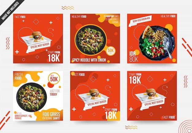 Modello di set di cibo social media post Vettore Premium