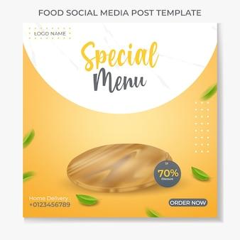Modello di post sui social media alimentari con tagliere in legno