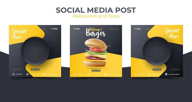 Modello di post sui social media alimentari