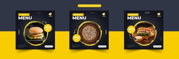 Promozione dei social media alimentari e modello di progettazione di post banner