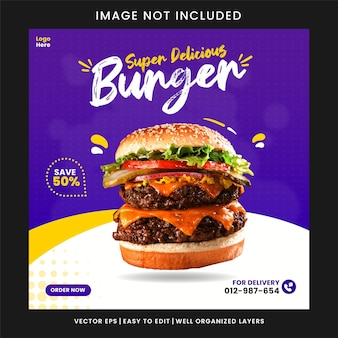 Modello di progettazione di post banner di promozione dei social media alimentare