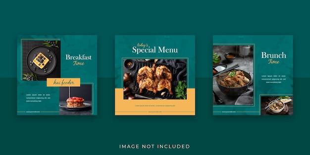 Modello di banner e promozione sui social media alimentari