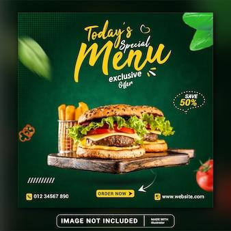 Promozione sui social media alimentari e modello di progettazione di banner per instagram o volantino quadrato