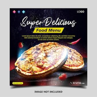 Promozione dei social media alimentari e modello di progettazione di banner post per instagram