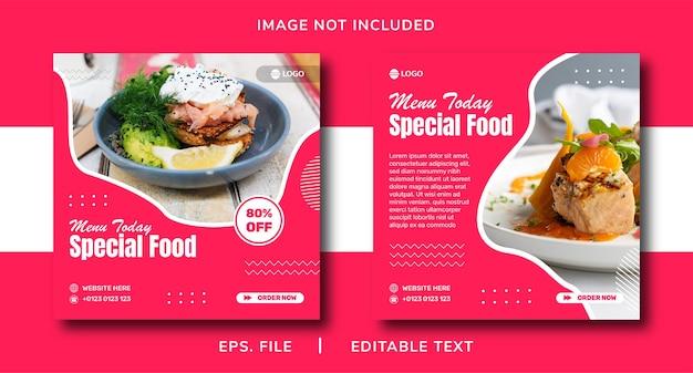 Promozione dei social media alimentari e design di banner per instagram