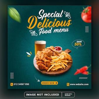 Promozione dei social media alimentari e modello di post banner instagram o volantino quadrato