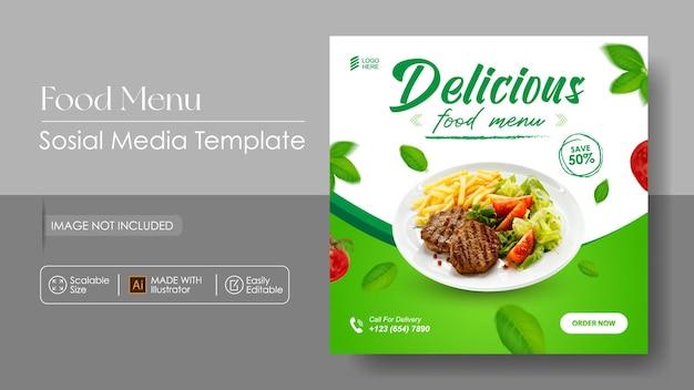 Modello di progettazione di banner e promozione dei media sosial alimentari