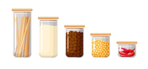 Contenitori per alimenti con pasta, farina, caffè in grani, piselli e peperoncino.