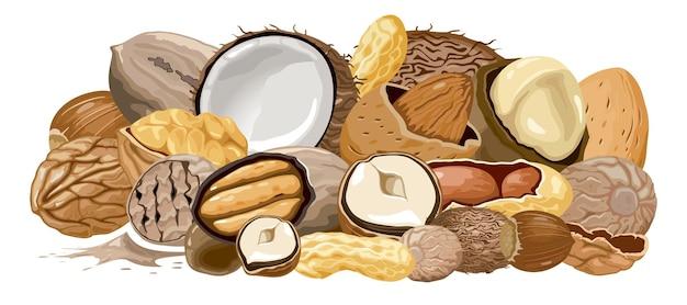 Raccolta di simboli di cibo. mazzo di noci.