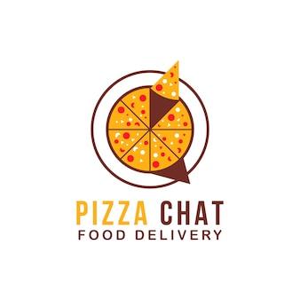 Logo food talk con illustrazione vettoriale simbolo pizza