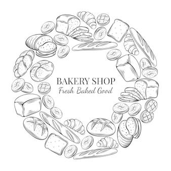 Modello di cibo cornice rotonda e design della pagina per prodotti da forno. schizzo disegnato a mano segale e pane di grano, croissant, pane integrale, bagel, pane tostato, baguette francese per negozio di panetteria menu design.