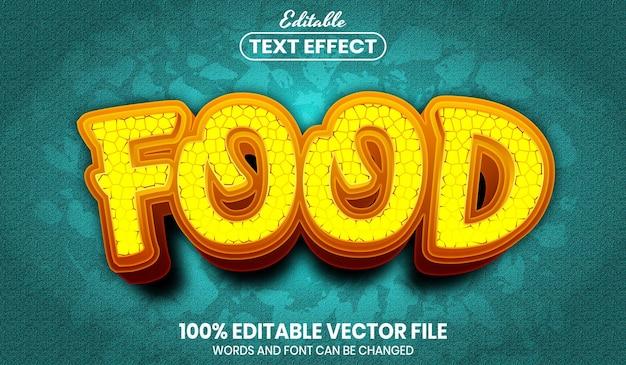 Testo del cibo, effetto testo modificabile in stile carattere font