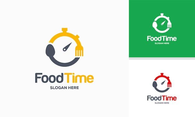 Modello di progettazione del logo dell'ora del cibo, illustrazione vettoriale