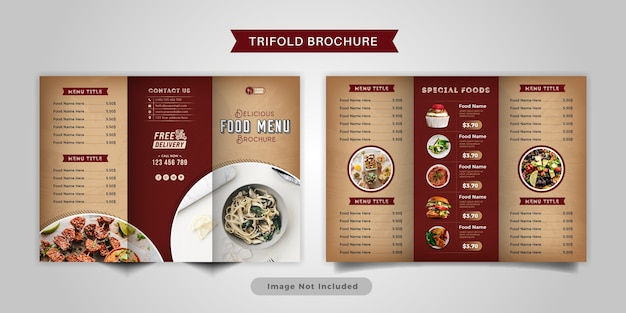 Modello di menu brochure a tre ante cibo. brochure di menu fast food vintage per ristorante