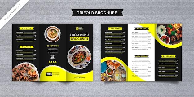 Modello di menu brochure a tre ante cibo