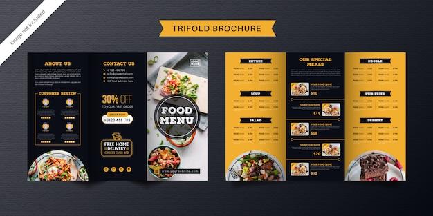 Modello di brochure a tre ante alimentare. brochure di menu fast food per ristorante di colore arancione e blu scuro.