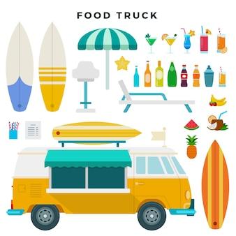 Set di icone piane di camion e cocktail di cibo