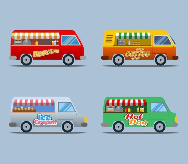 Raccolta di camion di cibo Vettore Premium