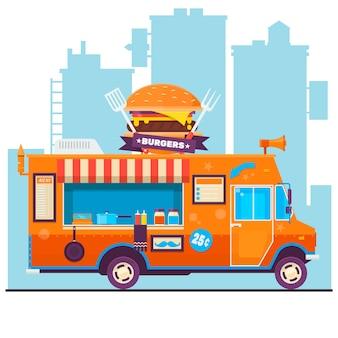 Brochure di cibo del menu del camion degli alimenti