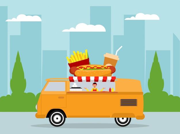 Concetto di design piatto camion di cibo