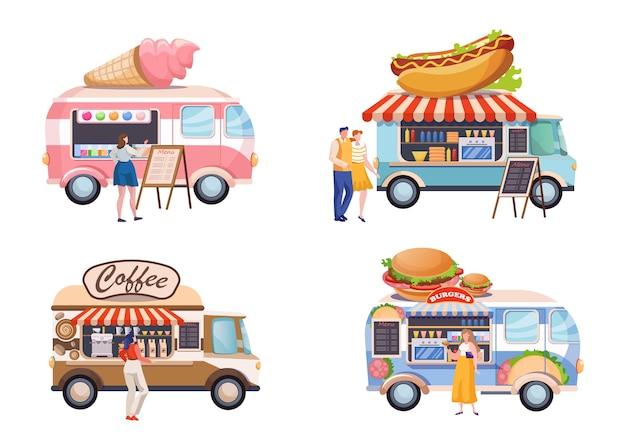Set di illustrazioni piatte di camion di cibo