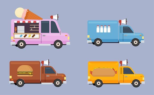 Camion di cibo piatto