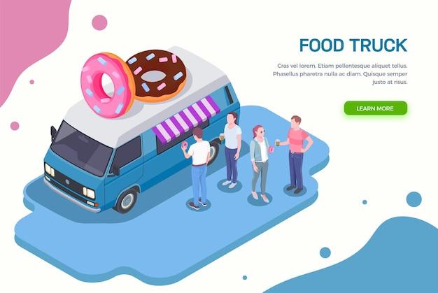 Orizzontale isometrico del camion di cibo