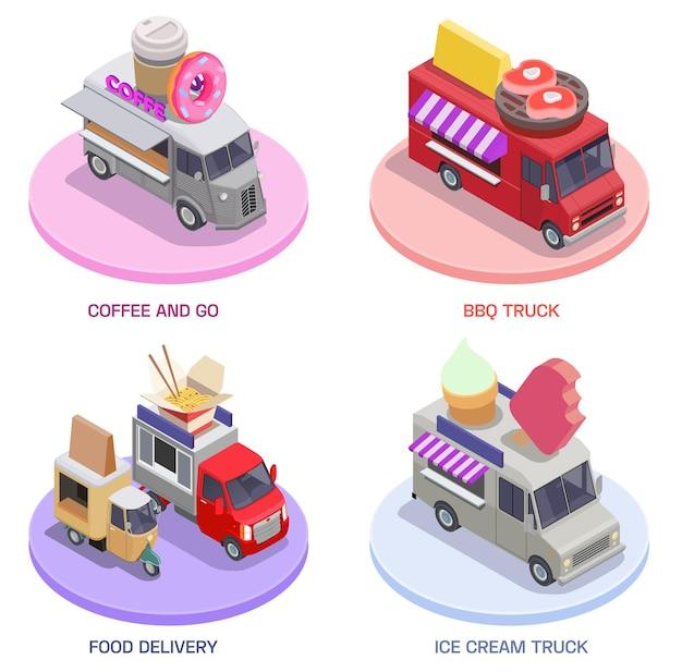 Set isometrico di camion di cibo di quattro piattaforme rotonde