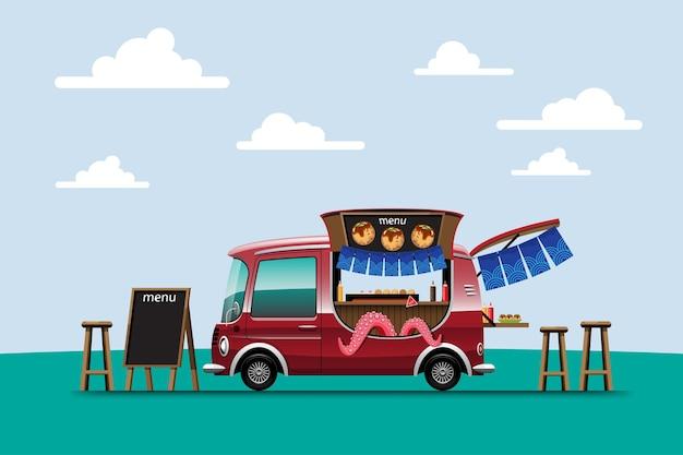 Consegna all'aperto di camion di cibo